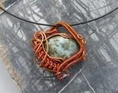 Wire Wrapped Pendant in Copper