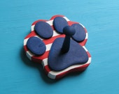 Leash Holder  PETriotic Dog  Red White Blue - Wood Paw Print Peg Hook