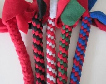 Large Reds Fleece dog tug chew toy