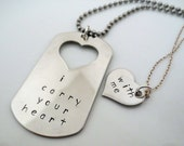 Personalized Hand Stamped Matching Necklaces - His and Hers - Inspirational Jewelry - Couple Set- 2 pieces- I Carry Your Heart