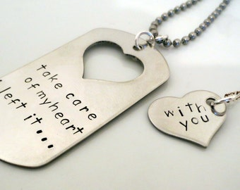 Personalized Hand Stamped Matching Necklaces - His and Hers - Couple Set- 2 pieces- Take Care of my Heart
