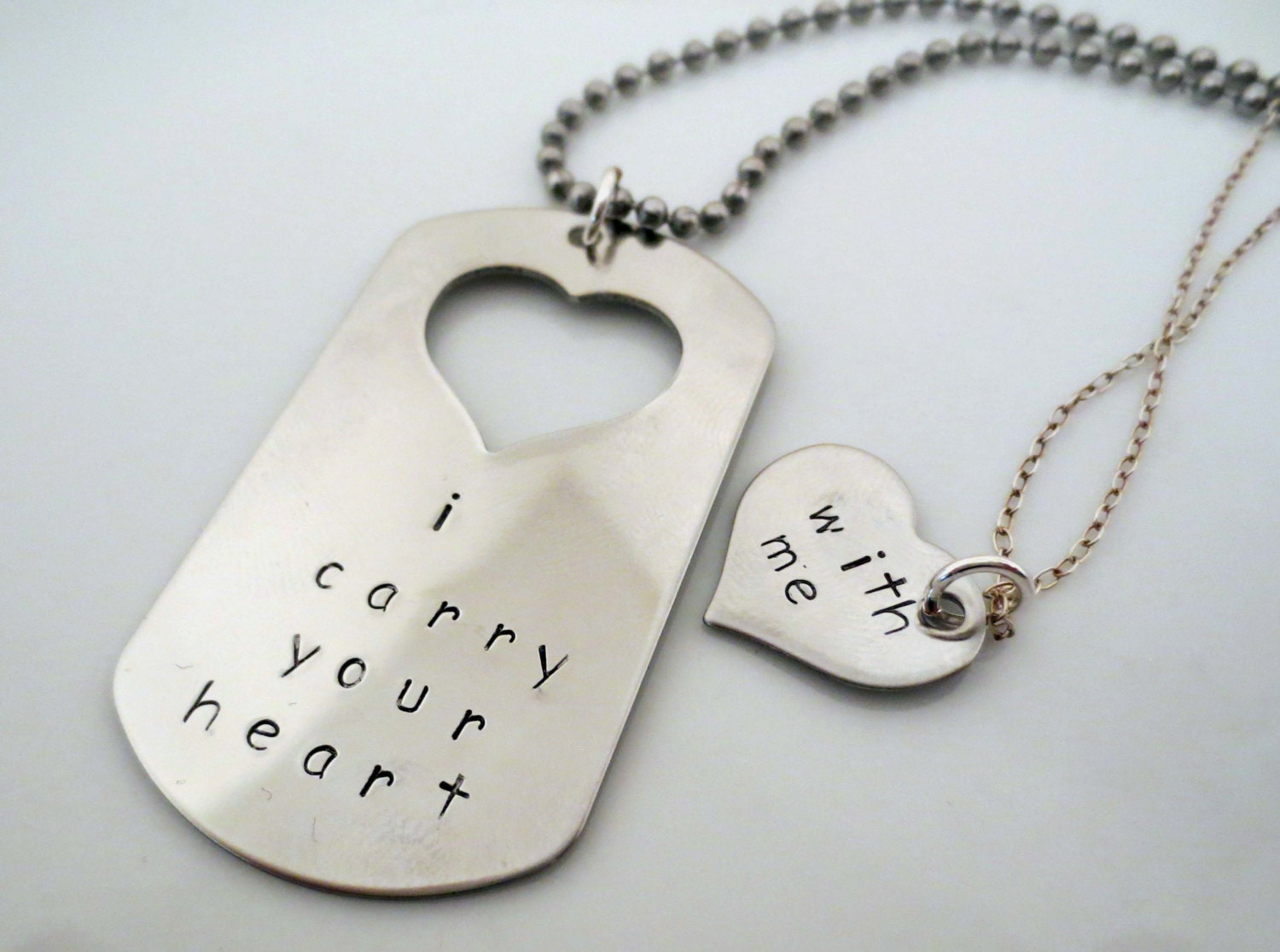 Personalized Hand Stamped Matching Necklaces His and Hers