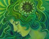 Green Goddess Art Nouveau Emerald Psychedelic Art Gypsy Gaia 8x10 Print