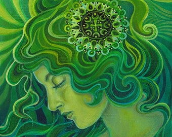 Green Goddess Gaia 11x14 Fine Art Print Pagan Mythology Art Nouveau Emerald Psychedelic Gypsy Gaia Goddess Art
