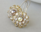 Earrings - vintage Swarovski crystal and brass flower, modern Swarovksi crystal and sterling silver earrings - Crystalline