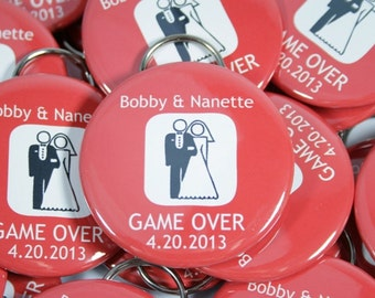 75 Game Over Personalized Wedding Favors, Custom Wedding Favors with your Name and or Date