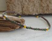 daisies small beaded hemp ankle bracelet - adjustable
