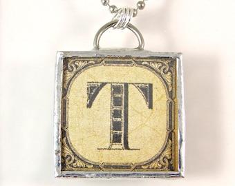 Letter T Initial Pendant Necklace