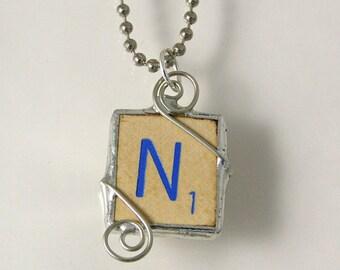 Blue Letter N Scrabble Pendant