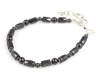 Unisex Magnetic Anklet for STRENGTH & HEALING with Magnetic Hematite and Trade Silver - Adjustable