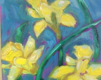 Daffodil art flower painting Original Oil Painting Monet Daffodils Spring Flower Garden 6x6 on board