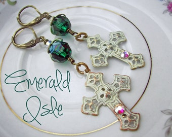 st patricks day - Emerald Green Swarovski Crystal Earrings, Gypsy Style Bohemian Earrings, May Birthstone, Patina Jewelry - Emerald Isle