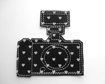 Iron On Patch Camera Applique with Flash in Black and White Heart Felt