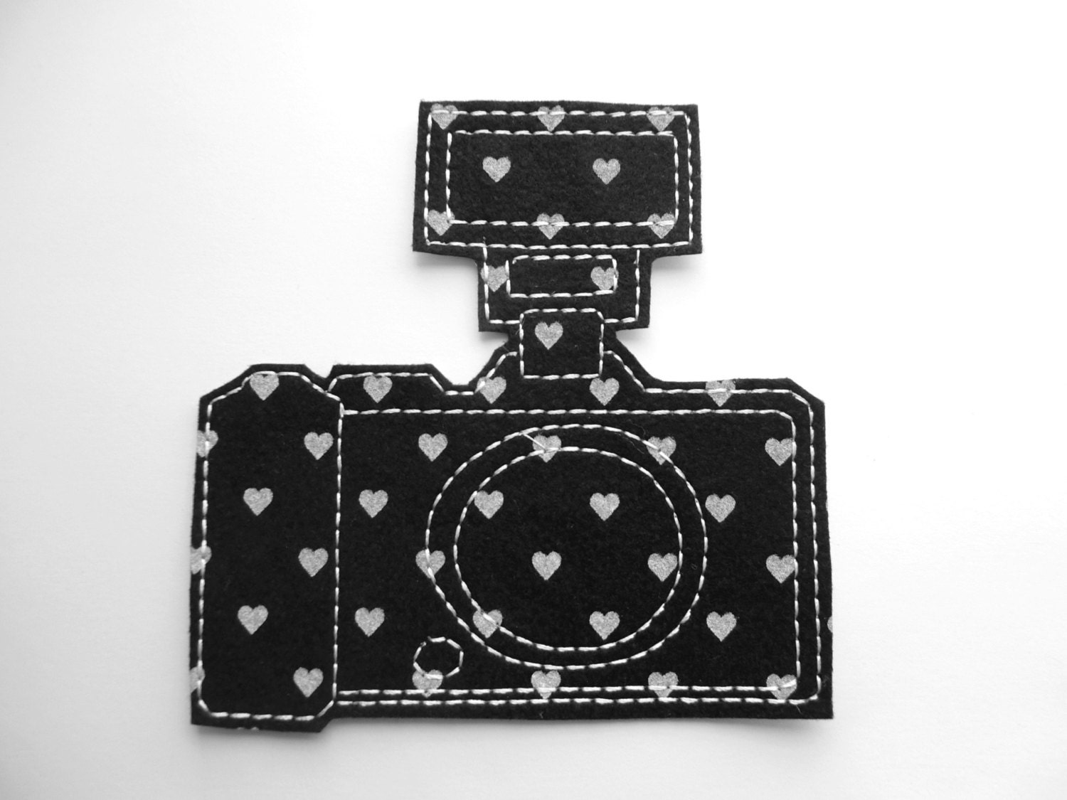 Iron on patch camera applique with flash in black and white - Applique camera bambini ...