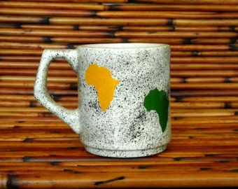 White Earthenware Ceramic Hand Made Africa Mug