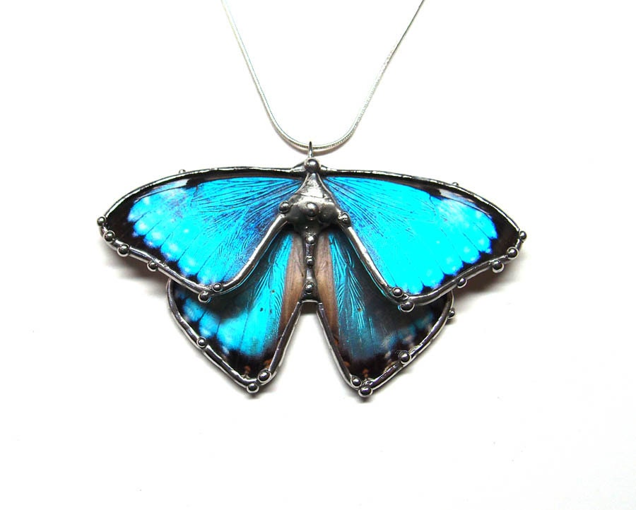 Blue Butterfly Jewelry: RESERVED Heather's Necklace Blue Morpho Butterfly