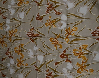 Vintage Upholstery Fabric - Vintage Supplies - Sewing - Fabric by the Yard - Commercial Fabric -  70s Yardage - Tan White Gold  Brown