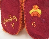 Cunning Knit Wool Baby Booties with Embroidered Iconic Orange and Yellow Hat