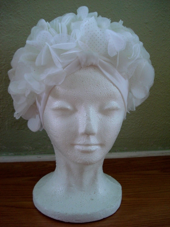 1960s White Dotted Swiss Ruffle Petal Hollywood Turban 2012361