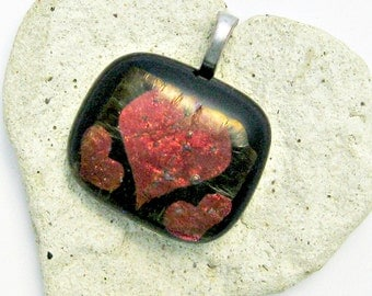 Fused Glass Jewelry - Dichroic Red Hearts Black Pendant