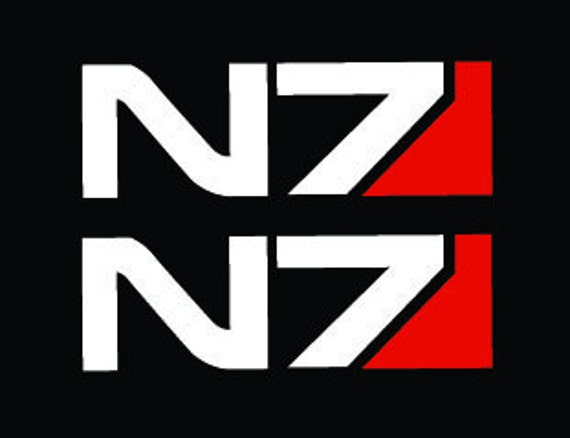 N 7 Logo Name N7 logo Vinyl Decal // Pair of Removable Stickers // Mass Effect ...