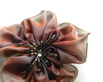 light blue and brown ribbon flower brooch