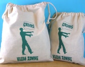 Zombie reusable bags Vegan/Vegetarian  grains farmers market produce bag draw string  Indie Housewares green gifts