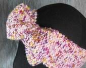 SALE Knit Hair Bow Headband Hair Band Ear Warmer Pink Size Child-XS-S-M