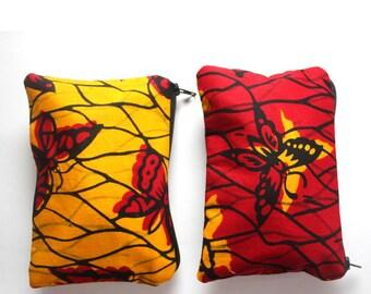 African Butterfly Print- Two Zipper Set