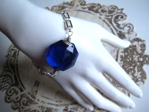 Cobalt Blue Chandelier Crystal Bracelet