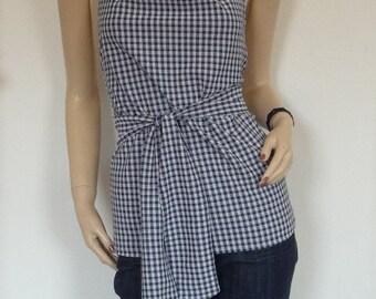 70s Vintage Blue Checkered Polyester Backless Halter Blouse