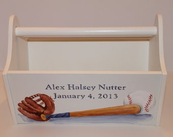 Personalized Book Bin Toy Caddy Baby Gift Carryall
