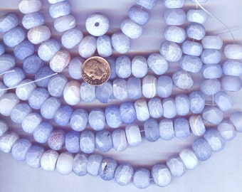 "14x10mm Frosted Matte Fire Agate Large Blue Cloud Rondelle Beads 8"" strand"