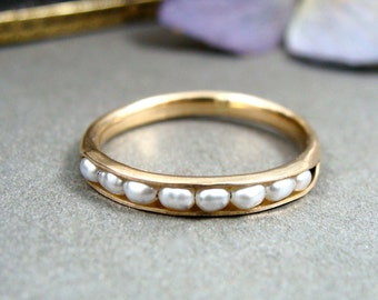 petite pearl stack ring ...  gold fill