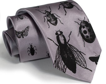 Insect Necktie. Men's Bug tie, black silkscreen print. Bugger Off. Choose standard or narrow size. Entomologist gift, natural history gift.