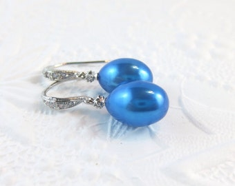 Turquoise Pearl Earrings with Rhodium, Sterling Silver and Cubic Zirconia