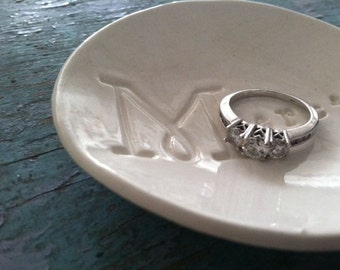 Ring Dish, Thank You Gift, Ring Dish Holder, Catch All Dish, Gift Boxed Gift,  Merci Design in Classic White Ceramic Jewelry Dish