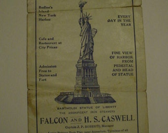 Antique Statue of Liberty Excusions Brochure Pamphlet