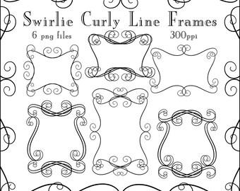 Instant Download, Swirlie Curly Frames, Digital Download PNG Files, Line Art Frames