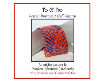 Peyote Bracelet Pattern ... TO and FRO ... Curves . Modern . Fan Shapes . Flowing Lines . Jewelry Pattern . Elegant . Wide Cuff . 3 for 2