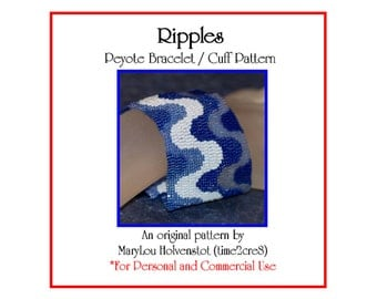 Peyote Bracelet Pattern ... RIPPLES ... Waves . Undulations . Curved Lines . Stripes . Ruffles . Jewelry Pattern . 3 for 2