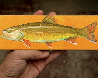 "Medium Freshwater Fish Art Block- Brook Trout Print- 9"" x 3"" Fish Wall Decor Fisherman Gift for Dad- Lake House Fish Print- Fish Picture"