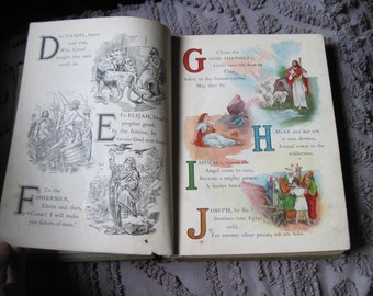 "Antique Book ""Happy Sundays With The Bible""  illustrated lithograph"