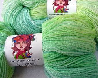 Pretty Spring Green Tonal Pale Green Sock Yarn, Knitting Yarn, Hand Dyed, Idie Dyer, Superwash Fingering Weight 462 Yards
