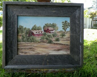 Abandoned Red Farm House Original Oil Painting by California Artist Debra Alouise Barrett Ranch House