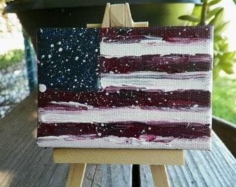 American Flag Olde Vintage Primitive Original Painting by California Artist Debra Alouise