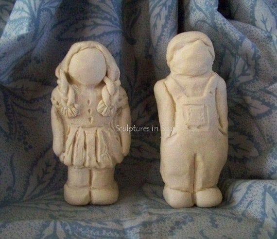 Primitive folk art children girl boy doll silicone molds