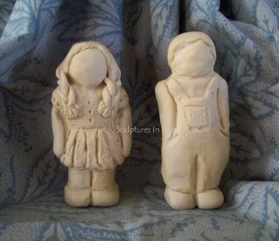 Primitive folk art children girl boy doll silicone molds
