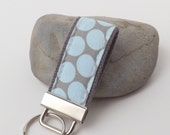 Mini Key Fob or Key Chain - Full Moon Dots Slate and Blue