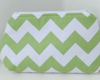 Cosmetic Pouch, Make Up Bag, Zippered, Carry All  -  Green and White Chevron